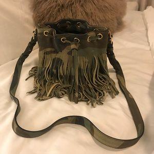YSL Emanuelle bucket bag camo camouflage fringe